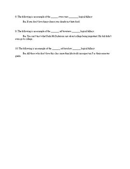 Logical Fallacies Quiz or Worksheet