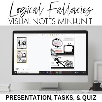 Logical Fallacies Mini-Unit: Visual Notes, Quiz, and Teacher Presentation