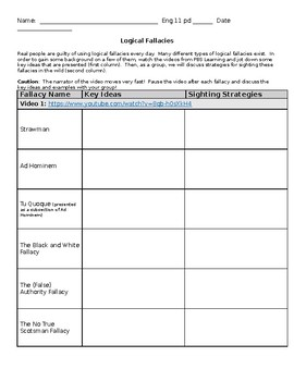 Logical Fallacies:  Note-taking Chart for Videos from PBS Idea Channel