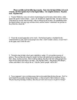 Logical Fallacies Quiz - CCSS Aligned