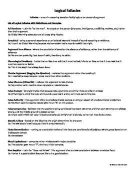 Logical Fallacies for Grades 9-12