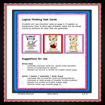 Task Cards Critical Logical and Differentiated Thinking Valentine's Day