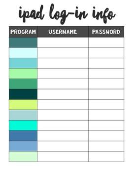 Login Information Sheet
