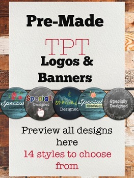 Logo and Banner Template Pre-Made TPT Logos & Banner BUNDLE -Customized