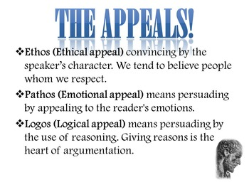Logos, Ethos, & Pathos: The Persuasive Appeals: Introduction & Activity