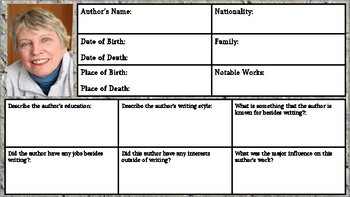Lois Lowry Author Biography Assignment/ Graphic Organizer