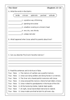 """Lois Lowry """"The Giver"""" worksheets"""
