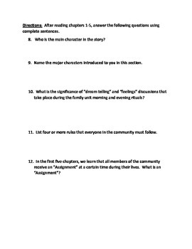 Lois Lowry's The Giver Chapters 1-5 Vocabulary Presentation and Quiz/Review