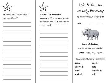 Lola & Tiva: An Unlikely Friendship Trifold - Wonders 2nd Grade Unit 1 Week 4