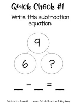 Subtraction from 10 Guided Math Lessons and Daily Printables with Lola