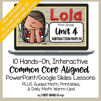 Subtraction from 20 Guided Math Lessons and Daily Printables with Lola