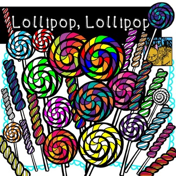 Lollipop Clip Art Candy by Kid-E-Clips Commercial and Personal Use