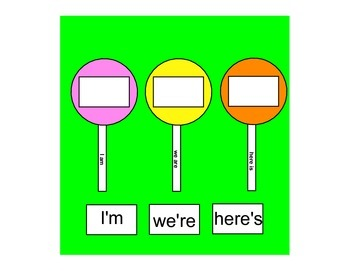 Lollipop Contractions - A File Folder Game
