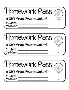 """Lollipop"" Homework Pass –Holiday FUN! (color & black line version)"