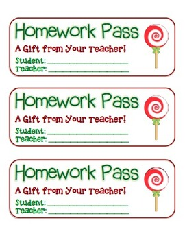 """Lollipop"" Homework Pass –Holiday FUN! (full color version)"