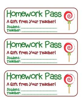 """Lollipop"" Homework Pass –Holiday FUN! (full color version)"
