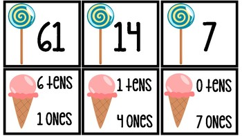 Lollipop & Ice Cream Tens and Ones Match