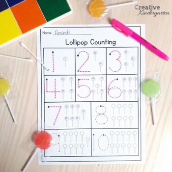 Lollipop Math Activities FREEBIE for Kindergarten Number Sense FRENCH included