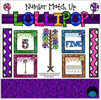 Lollipop Number Match Up Math Center
