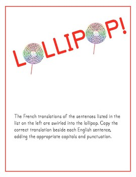 Lollipop puzzle (practising the French IR verb endings in the present tense)