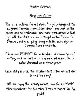 Lon Po Po Trophies Activity Packet