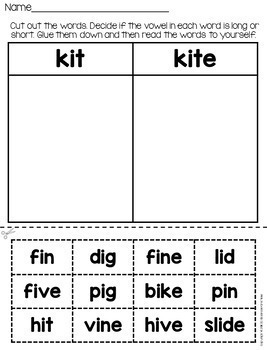 Long Vowel Word Work Set