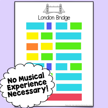 London Bridge Is Falling Down Color-Coded Piano Song Sheet ~ Play by Color!