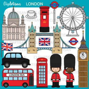 London Clip Art, British Printable
