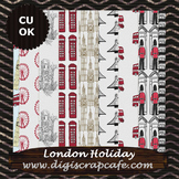 London Holiday Digital Background Papers Scrapbook Journal JPG