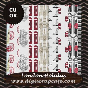London Holiday Digital Background Papers Scrapbook Journal JPG