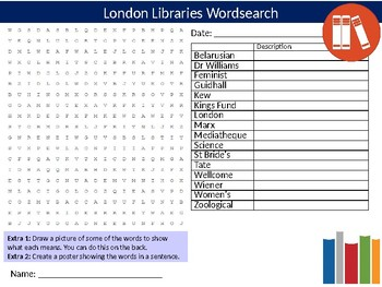 London Libraries Wordsearch Sheet Starter Activity Keywords British History