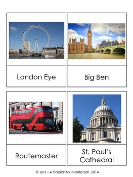 London Montessori Classified Cards, Flash cards, Three Part Cards