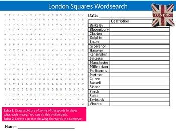 London Squares Wordsearch Sheet Starter Activity Keywords England History