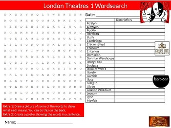 London Theatres #1 Wordsearch Sheet Starter Activity Keywords Geography Drama