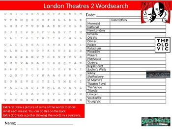 London Theatres #2 Wordsearch Sheet Starter Activity Keywords Geography Drama