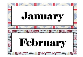 Classroom Display - London Theme - Months of the Year