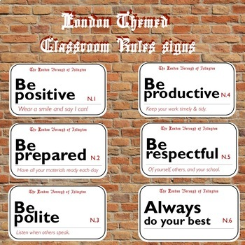 London Themed Classroom Rules Posters