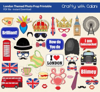 London Themed Photo Booth Prop Printable