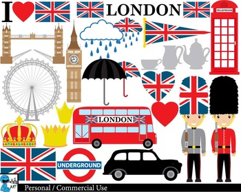 London UK Set Digital Clip Art Graphics Personal Commercia
