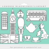 London blacklines - black lines line art coloring England clip art tea bus flag
