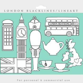 London blacklines - black lines line art coloring England clip art tea bus flag