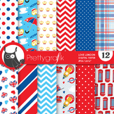 London british digital paper, commercial use, scrapbook papers - PS680