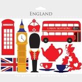 London clipart - England clip art, travel, UK, tea, bus, double decker, flag
