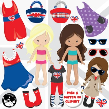 London girls clipart commercial use, vector graphics, digital  - CL985