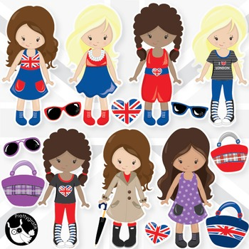 London girls clipart commercial use, vector graphics, digital  - CL987