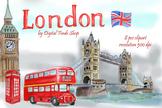 London symbols and landmark clipart Tower bridge, Big Ben