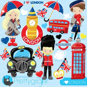 London travel clipart commercial use, vector graphics, dig