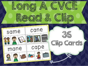 Long A CVCE Read & Clip Cards
