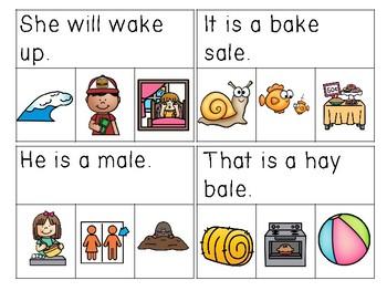 Long A CVCE Sentences Read & Clip Cards