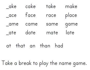 Long A CVCe Poem Packet